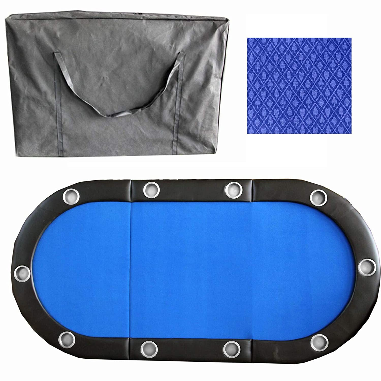 """Durable Sturdy Cup Holder Heavy Duty Portable Foldable Water Resistant Suitable for Home Office Party Indoor Outdoor Travel Picotech 84/"""" 10Player Poker Table Top with Speed Cloth and Carrying Case"""