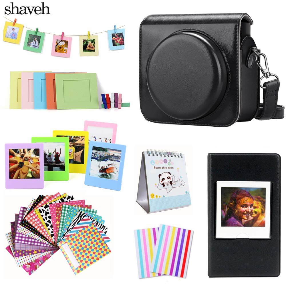 Protective Case Compatible with Fujifilm Instax Square SQ6 Instant Film Camera Premium PU Leather Bag Cover with Removable//Adjustable Strap,Black