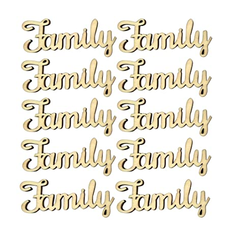 Pack of 5 Our Family Wooden MDF Word Script for Family Tree Crafts Cut Out