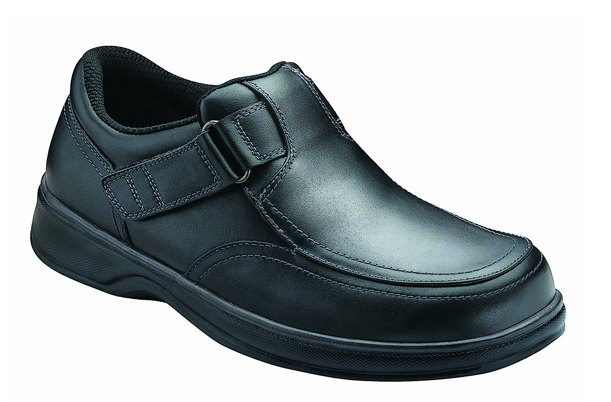 Orthofeet Carnegie Mens Extra Wide Depth Therapeutic Arthritis and Diabetic Shoes Black Leather 13 W US