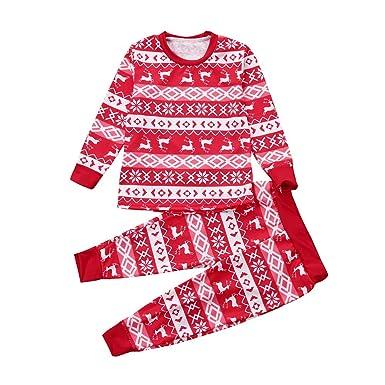 71eebbb756af8 Kolylong 2018 Noël Parent-Enfant Pajamas 2pcs vêtements de Nuit Tenues  Ensemble Rouge Déguisement Costume Pull Top Manches Longues + Pantalons de  Wapiti de ...