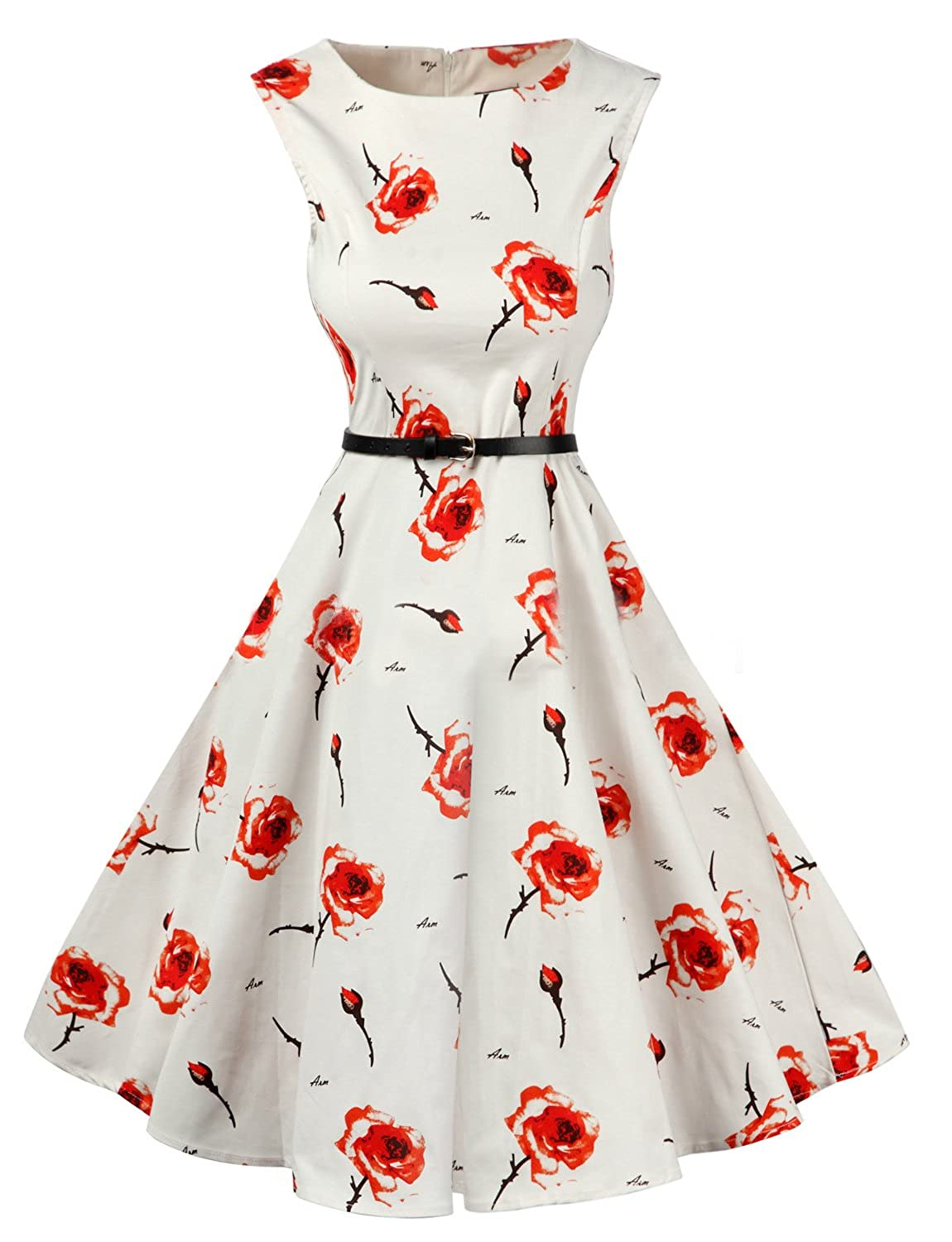 Hdb LINKFLY 1950's Elegant Dress Vintage Party Tea Dress Belt Printed Dresses for Women