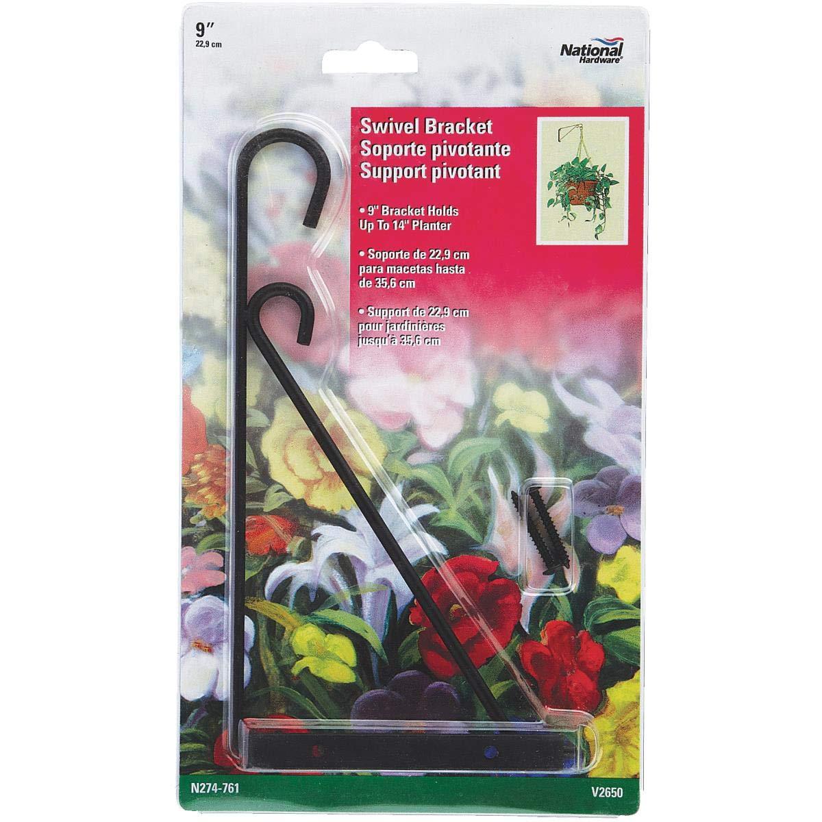 """3-Black Steel 9/"""" Arm 15# Capacity Swivel Hanging Plant Basket Bracket N274761"""