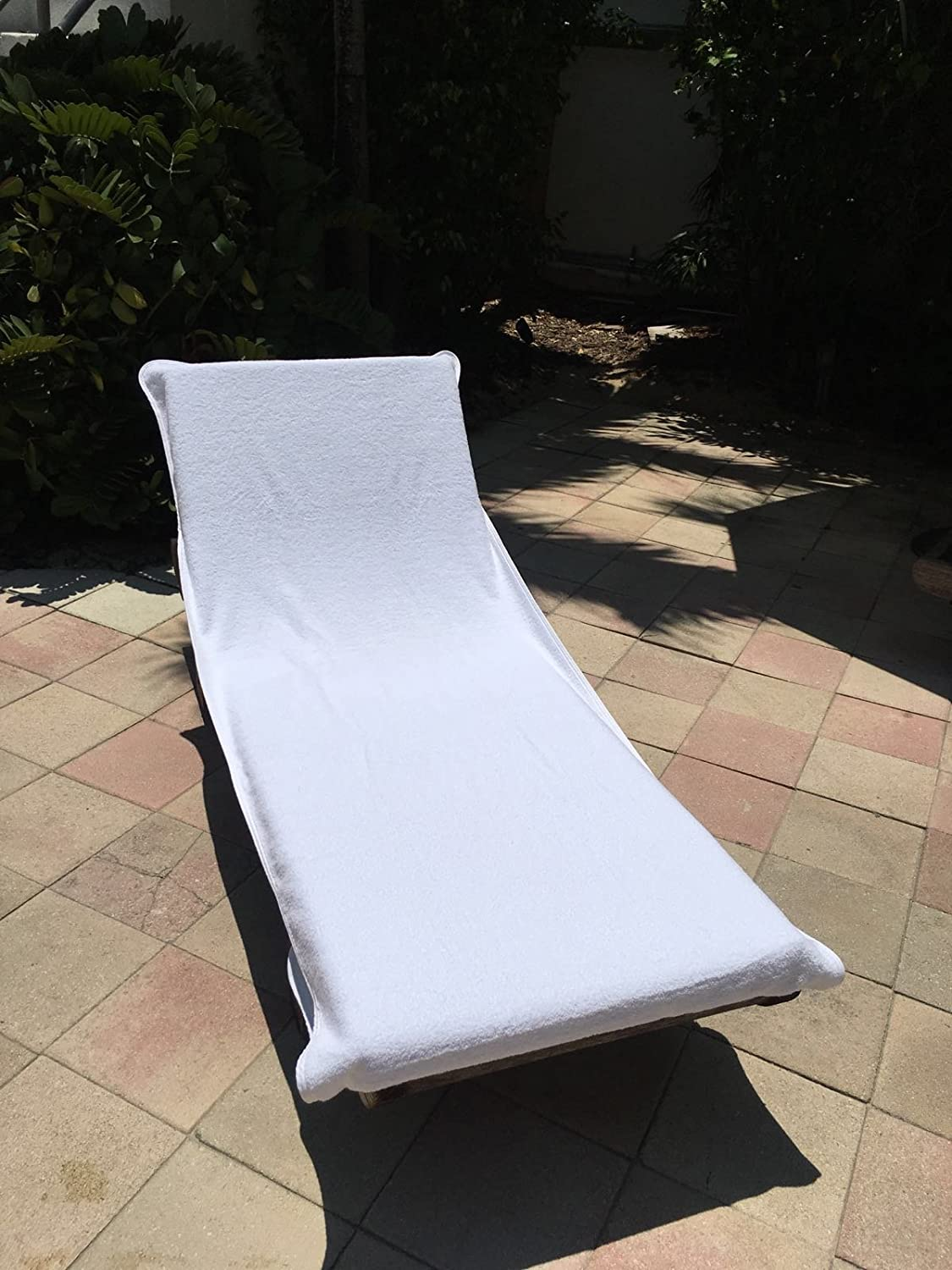 Chaise lounge chair cotton towel with flap 32 x 87 white for Chaise lounge covers cotton