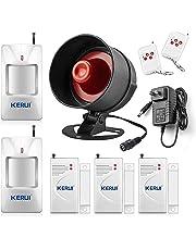 KERUI Standalone Home Office & Shop Security Alarm System Kit, Wireless Loud Indoor / Outdoor Weatherproof Strobe Siren Horn with Remote Control and Door Contact Sensor,Motion Sensor door alarm,Up to 110db