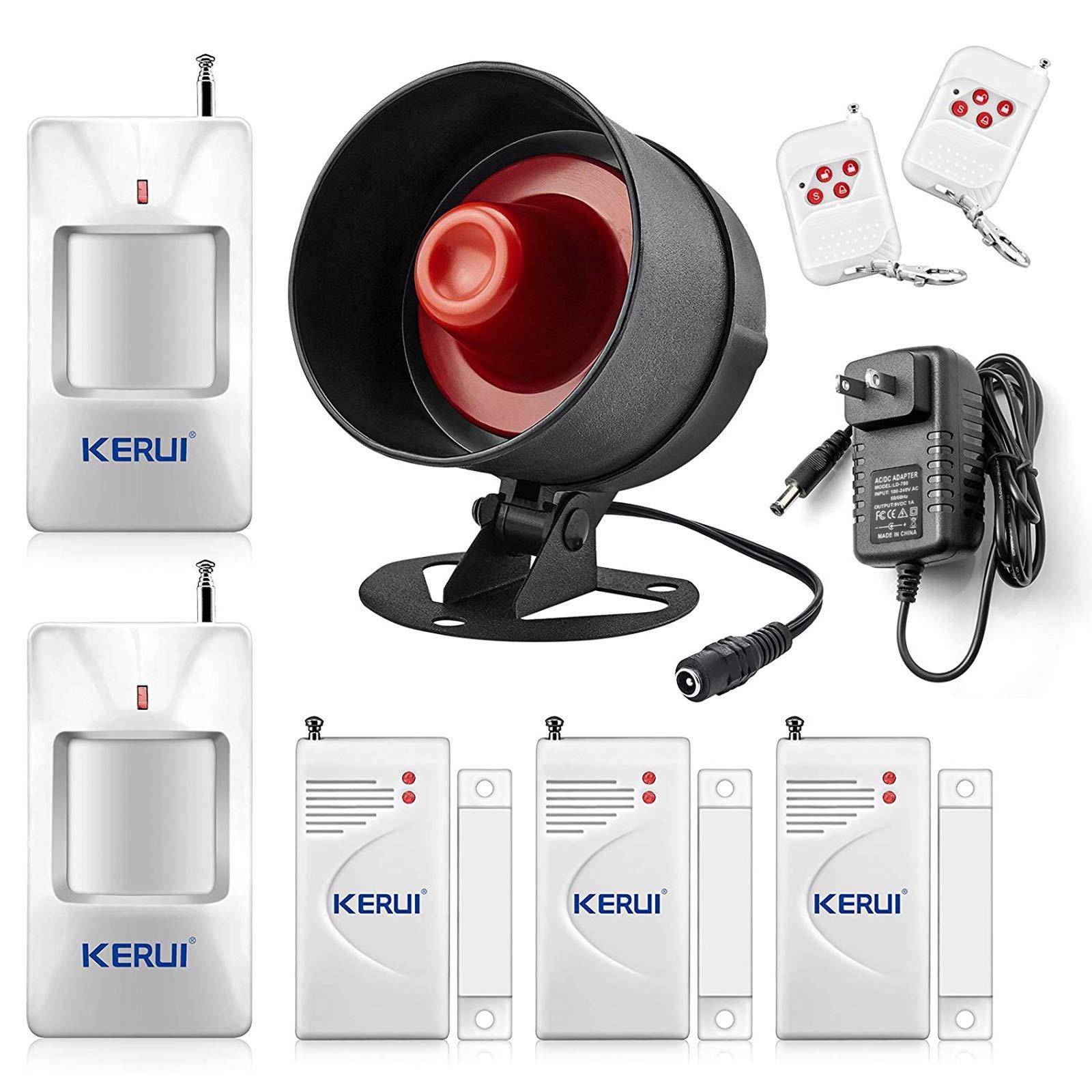 KERUI Standalone Home Office & Shop Security Alarm System Kit, Wireless Loud Indoor/Outdoor Weatherproof Siren Horn with Remote Control and Door Contact Sensor,Motion Sensor,Up to 110db by KERUI