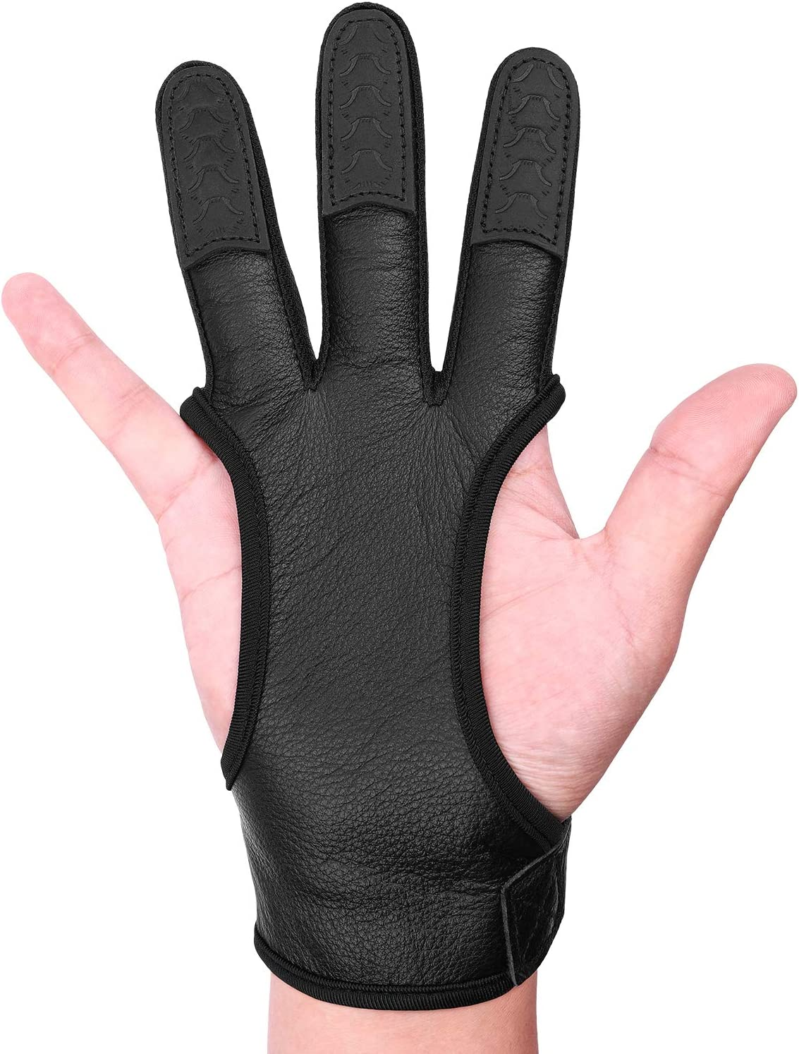 Archery 3 Finger Glove Guard Protector Gear Leather Compound Recurve Bow Hunting