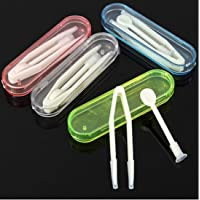 3 pcs High Quality New Contact Lens Inserter Remover Soft Tip Tweezer Case