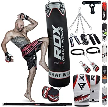 32f9489bd RDX Punch Bag Filled Set Kick Boxing MMA Heavy Training Gloves Punching  Mitts Hanging Chain Ceiling