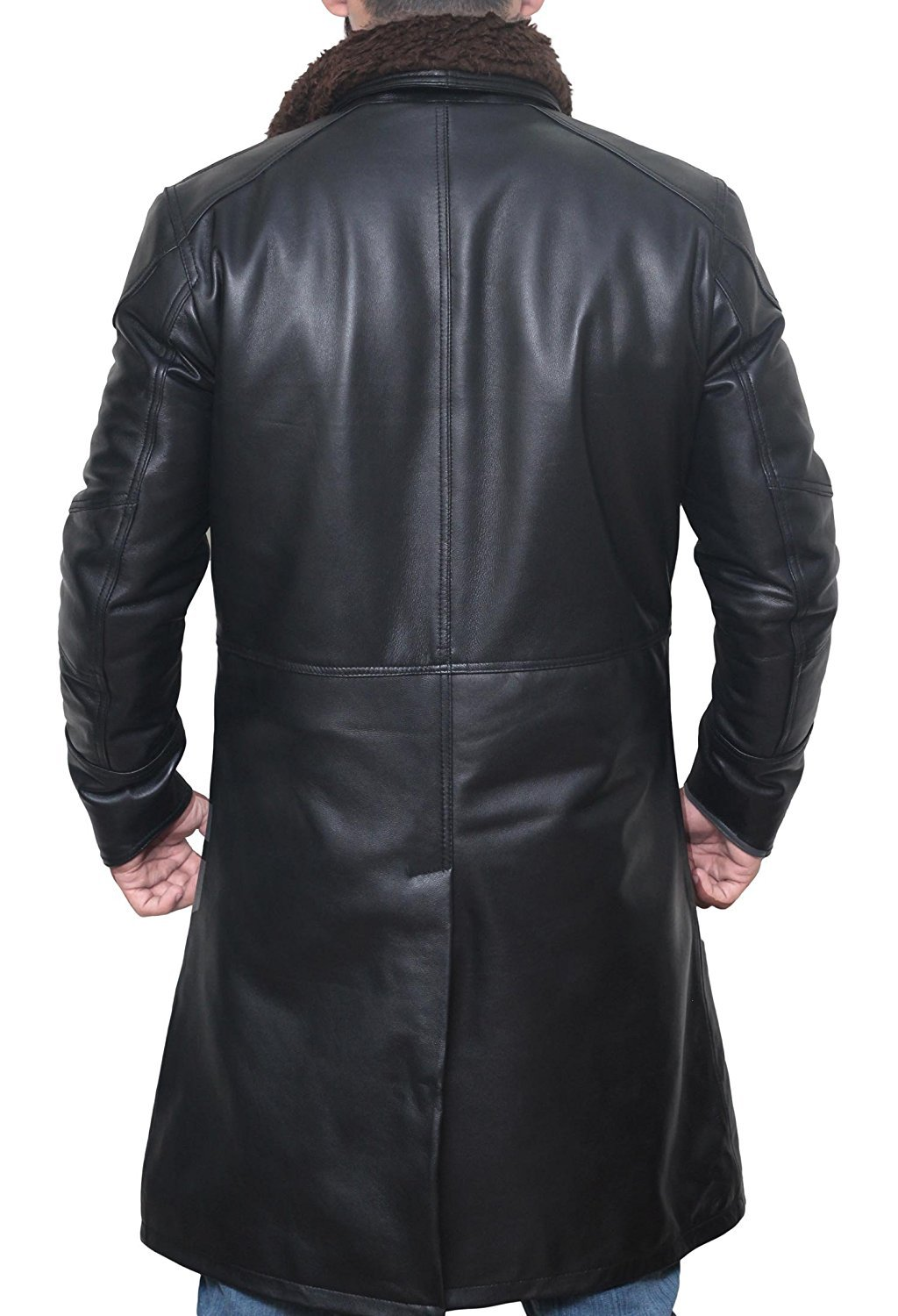 Decrum BladeRunner Black Long Trench Leather Mens Shearling Coat | PU Black, M by Decrum (Image #3)