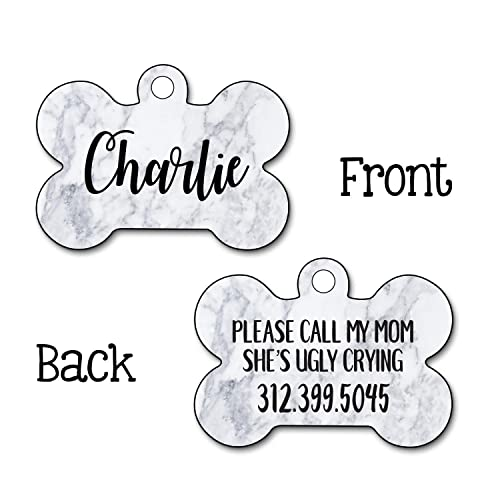 Marble Dog Tag, Mom's Ugly Crying, Trendy Dog Tag, Personalized Dog Tag,  Dog Name Tag, Double Sided Tag, Personalized Pet, Custom Pet Tag