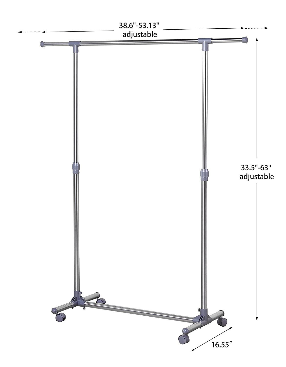 Extensible Clothing Hanging Rack with Industrial Wheels Finnhomy Stainless Steel Adjustable Rolling Garment Rack Single Rail Rolling Clothes Rack