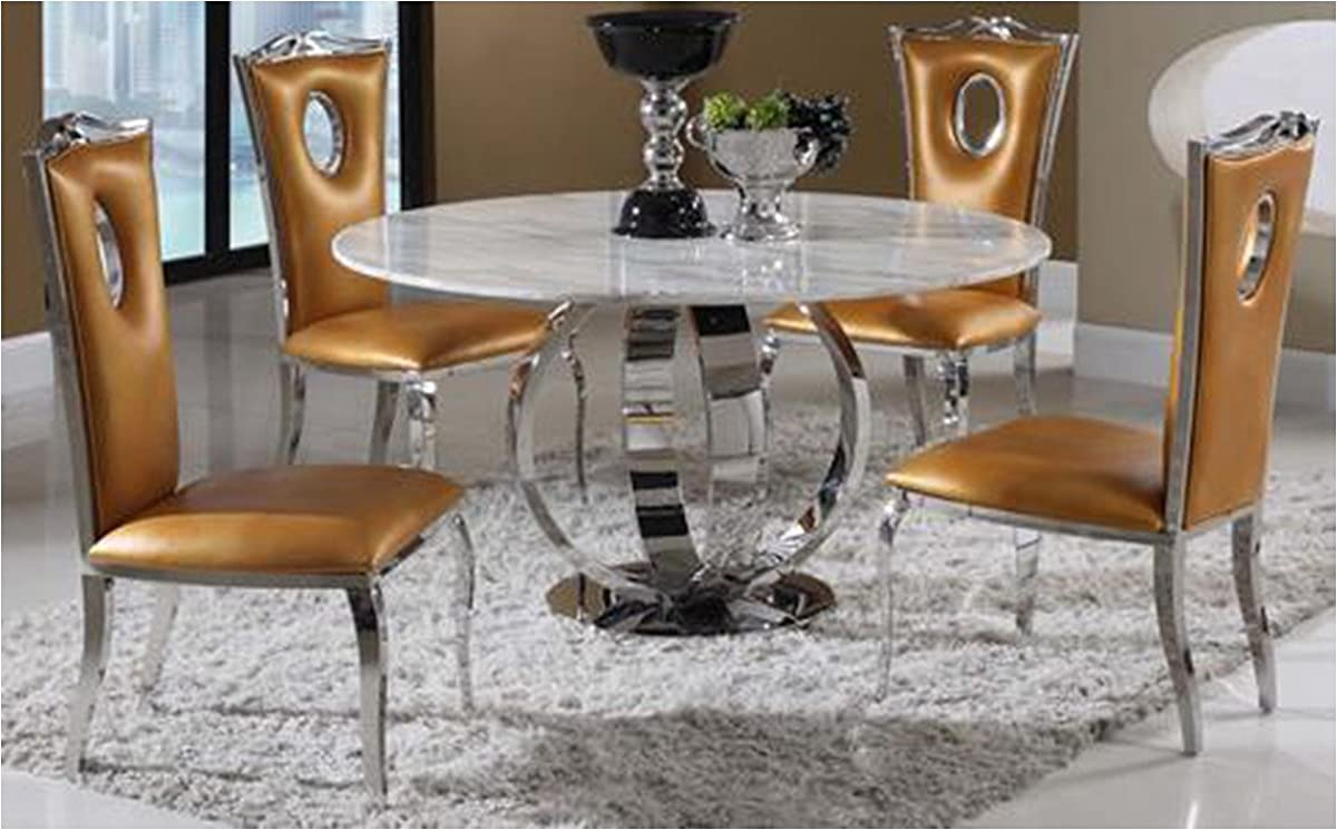 Milan NUBIA-DT Nubia Jazz White Marble Pedestal Dining Table