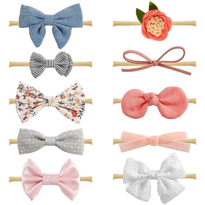 hand tied bow nylon headband Solid color baby bow baby bow headband fabric bow pink baby headband,baby girl bow school girl bow