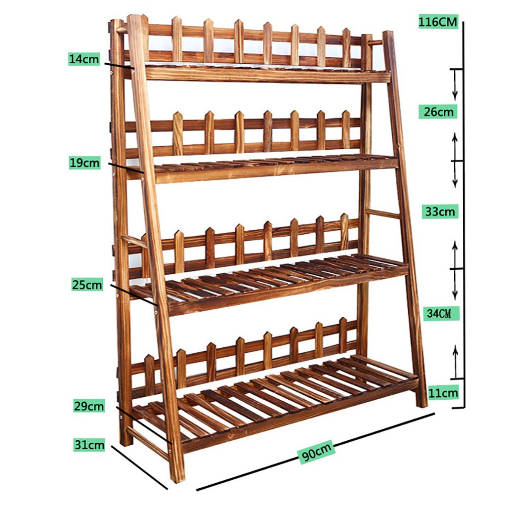 フラワースタンド フラワーシェルフ室内木製棚組立マルチレイヤーリビングルームバルコニーフロアタイプフラワーシェルフ肉厚多機能収納ラック (色 : A, サイズ さいず : 90センチメートル) B07DVYN8RF 90センチメートル A A 90センチメートル