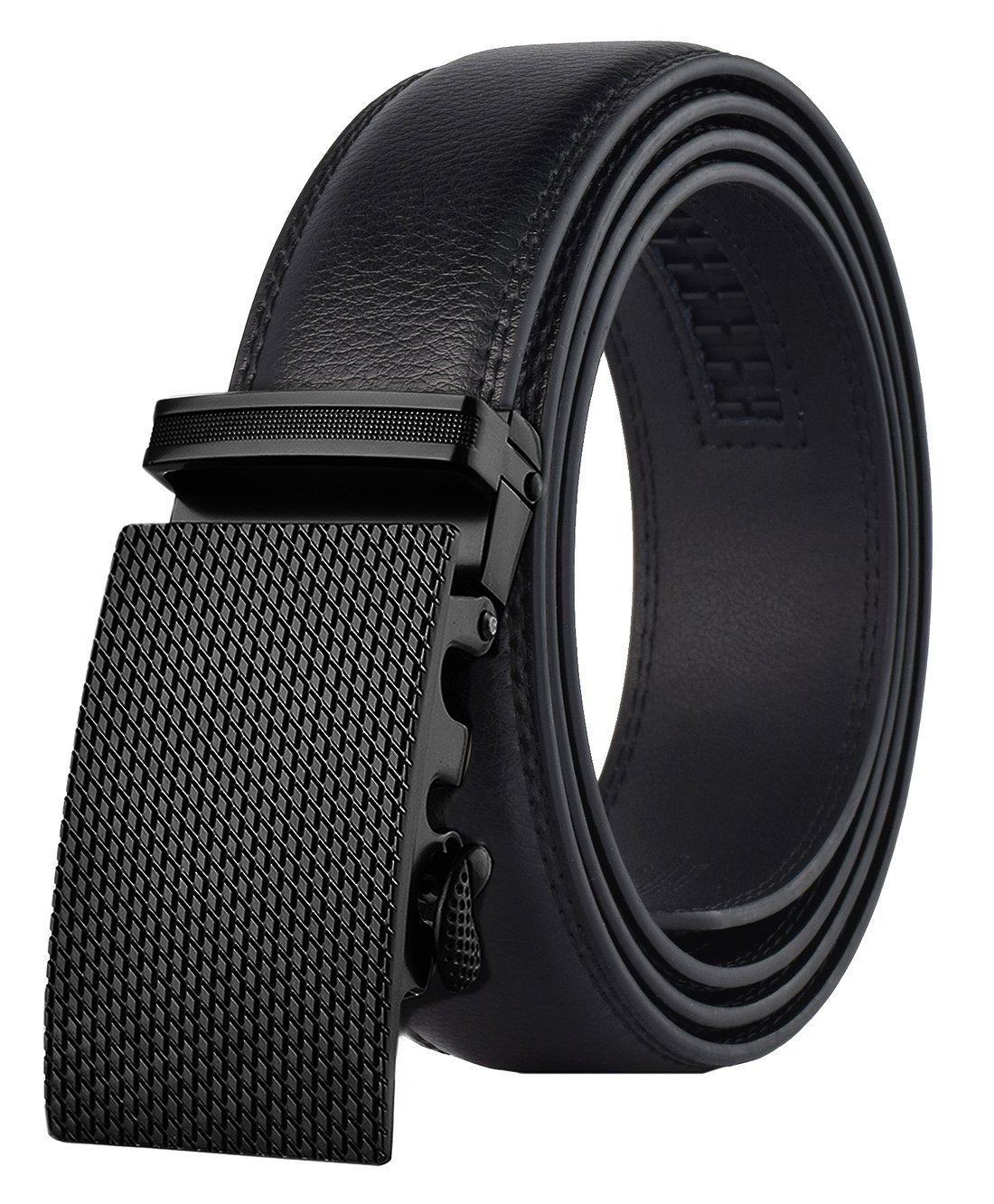 QISHI YUHUA Mens Leather Ratche Dress Belts for Men,801