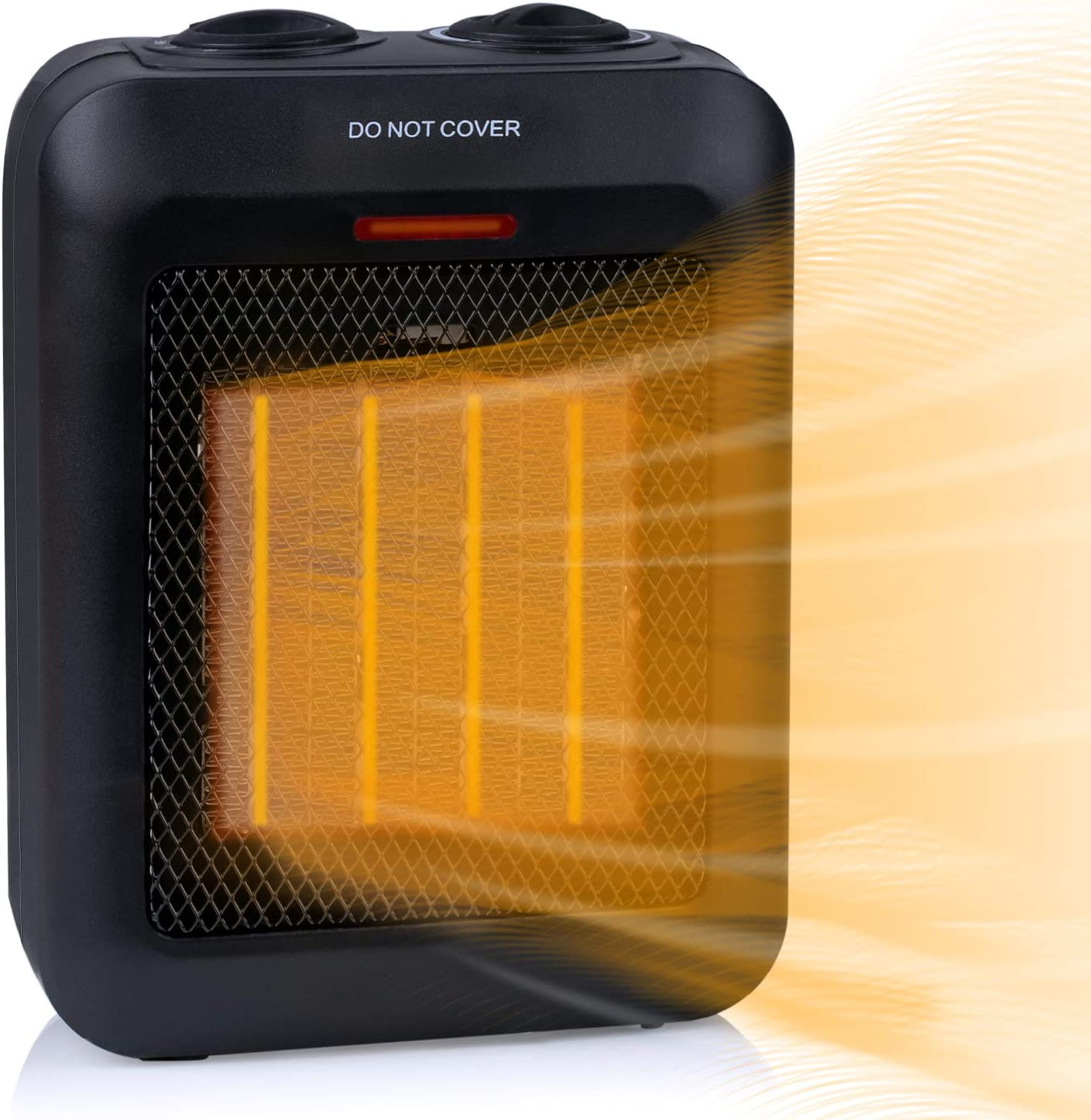 750W/1500W Portable Ceramic Space Heater with Overheats and Tip Over Protection, Electric Room Heater with Adjustable Thermostat