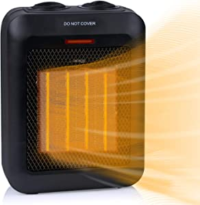 Portable Electric Space Heater 1500W/750W, Ceramic Room Heater with Tip-Over and Overheat Protection, 200 sq. Ft Fast Heating for Indoor Desk Office Floor, Black