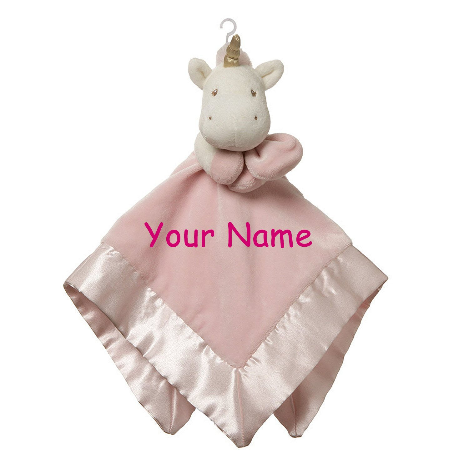 Personalized Luna Unicorn Lovey with Pink Snuggle Blanket for Baby Girl - 20 Inches