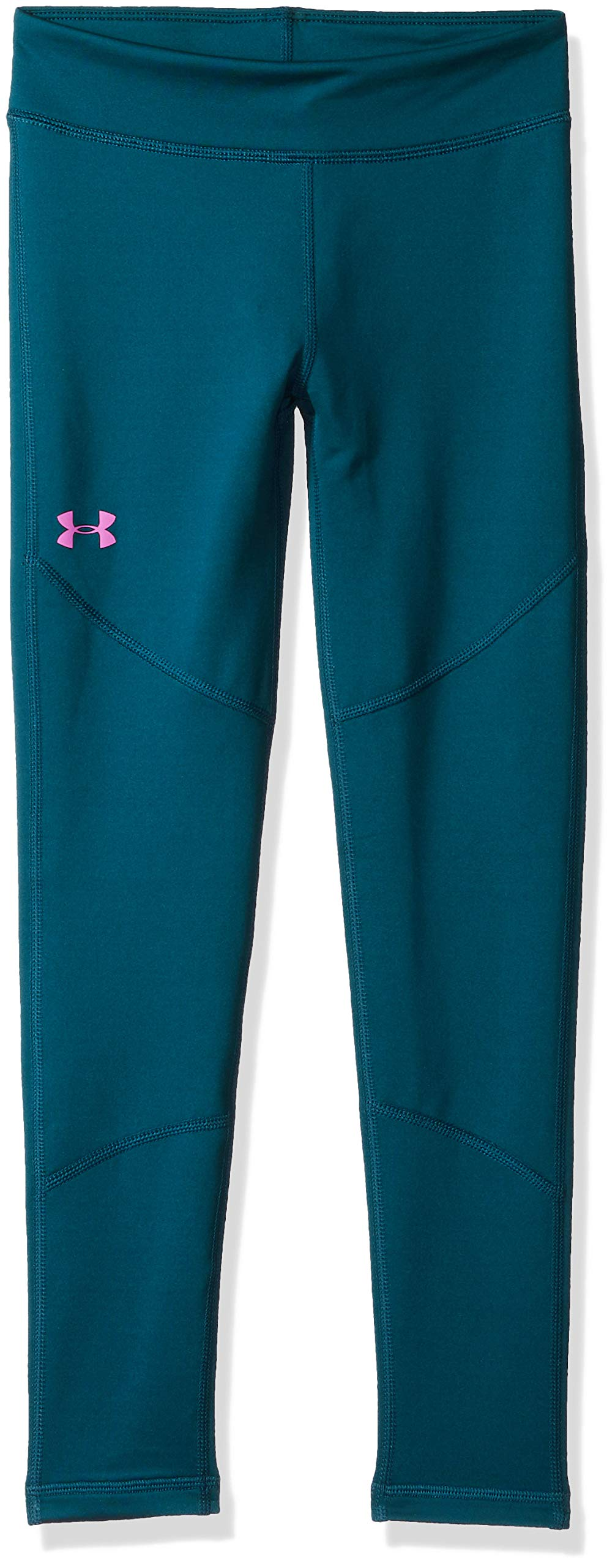 Under Armour Girls' Coldgear Leggings, Techno Teal (489)/Fluo Fuchsia, Youth Large