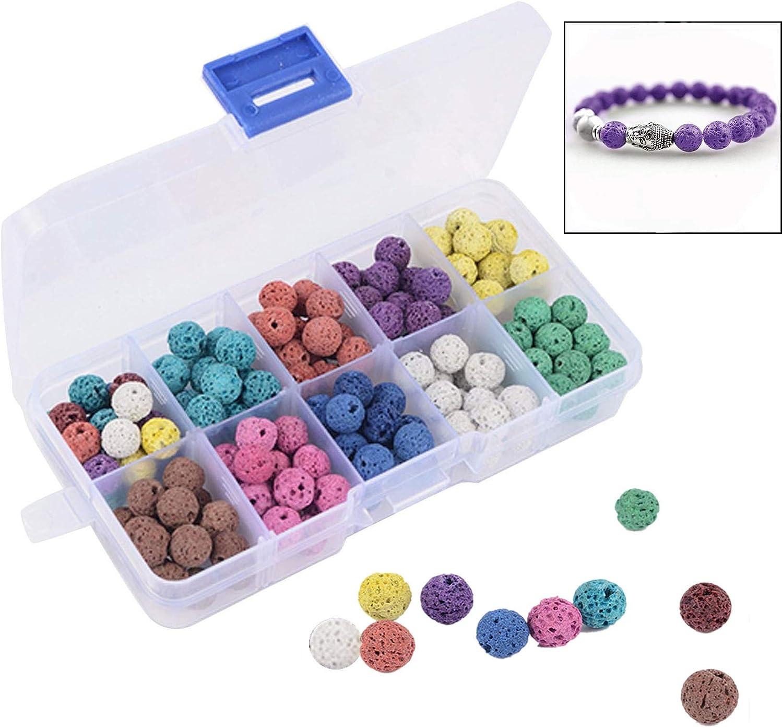 Xrten 180 Pcs Abalorios Piedra de Lava en Estuche de plástico para fabricación de Pulsera Collar joyería ect