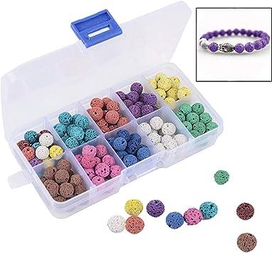 Xrten 180 Pcs Abalorios Piedra de Lava en Estuche de plástico para fabricación de Pulsera Collar joyería ect: Amazon.es: Electrónica