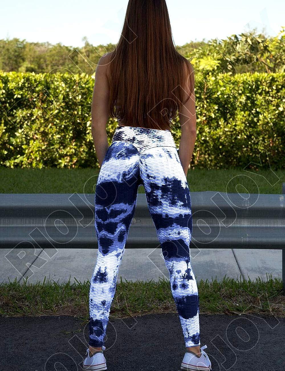 High Waist Gym Yoga Pants Scrunch//Ruched Butt Fitness Running Tights RIOJOY Womens Honeycomb Celulite Leggings