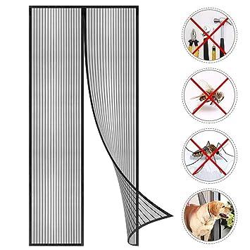 Schwarz f/ür Balkont/ür Wohnzimmer Terrassent/ür GOUDU Magnet Fliegengitter T/ür 75x215cm Glasfasermaterial Insektenschutz Magnetvorhang