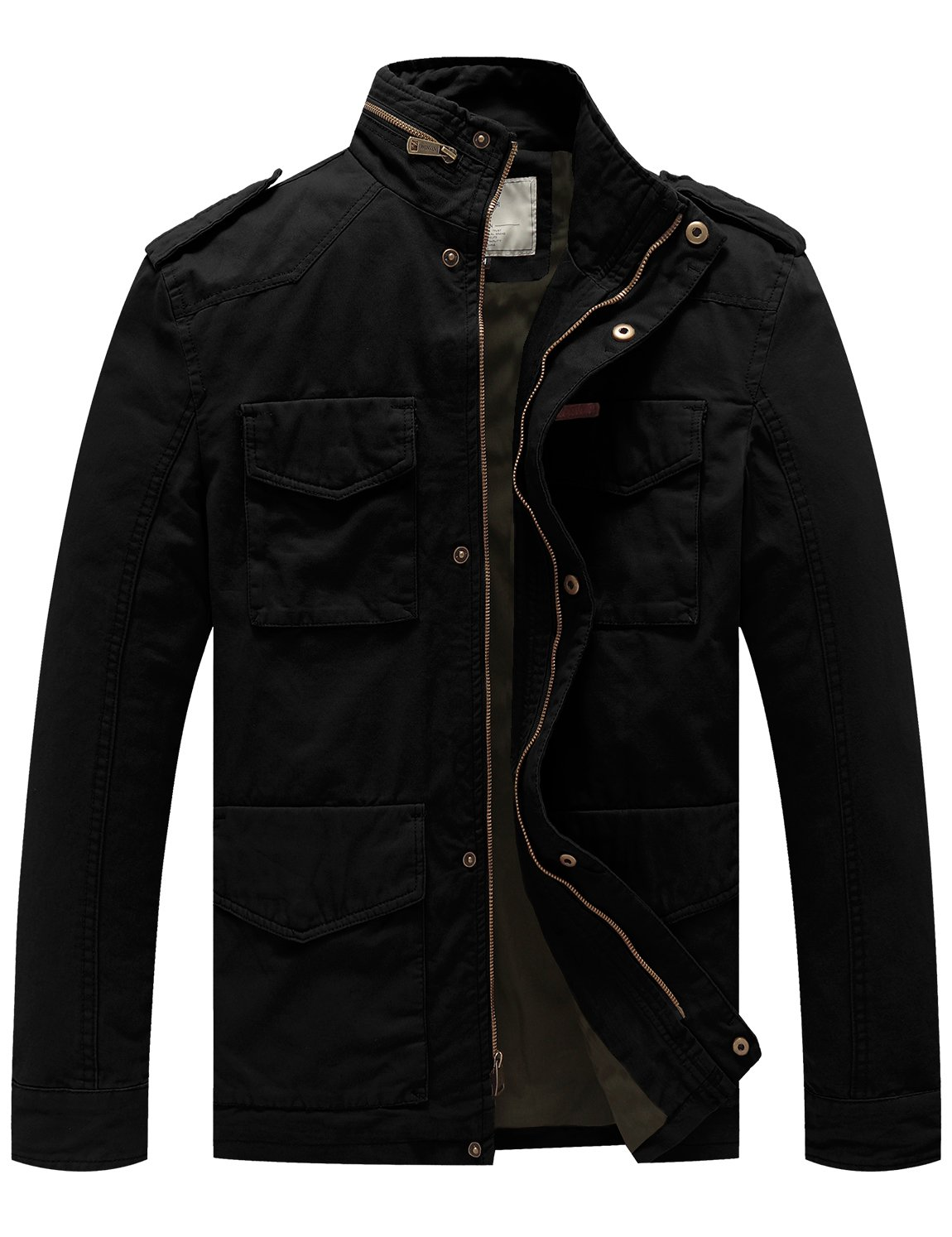WenVen Men's Cotton Military Casual Stand Collar Field Jacket (Black, Large) by WenVen