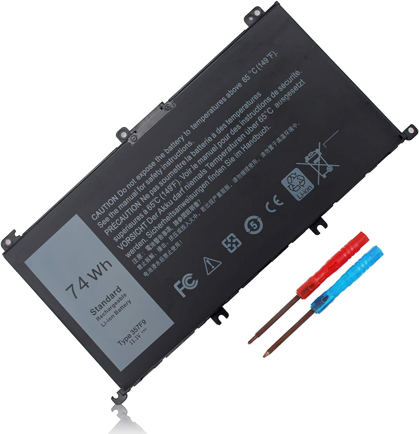 74Wh 357F9 71JF4 Laptop Battery Compatible with Dell Inspiron 15 7000 7566 7559 7557 7567 7759 15 5576 5577 15-7559 INS15PD-1548B 1548R 1748B 1748R 2548R 2548B 2748RSeries 0GFJ6 P57F 071JF4 0357F9