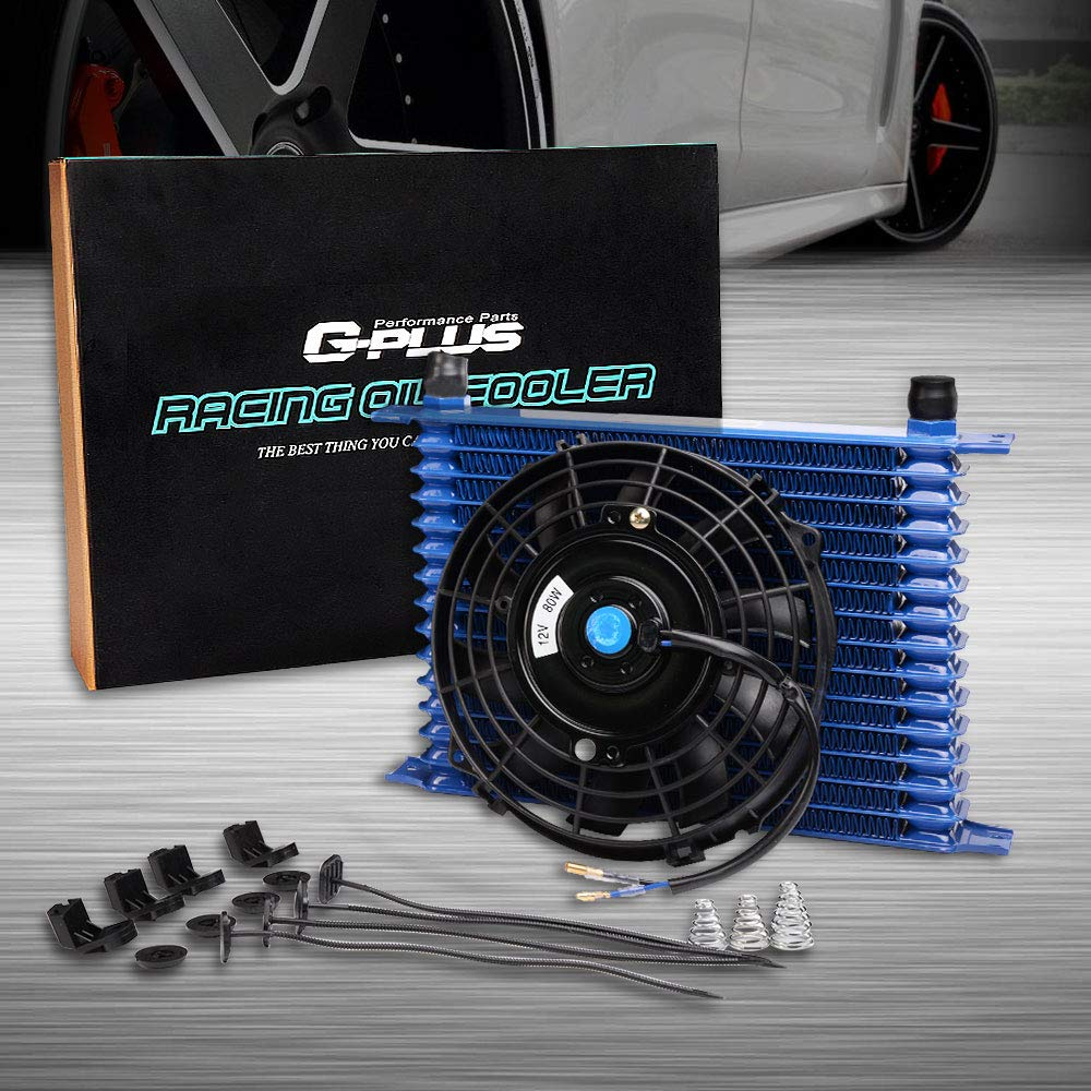 Universal 7'' Electric Black Engine Cooling Fan + 15 Row 10AN-AN10 Aluminum Engine Transmission Oil Cooler