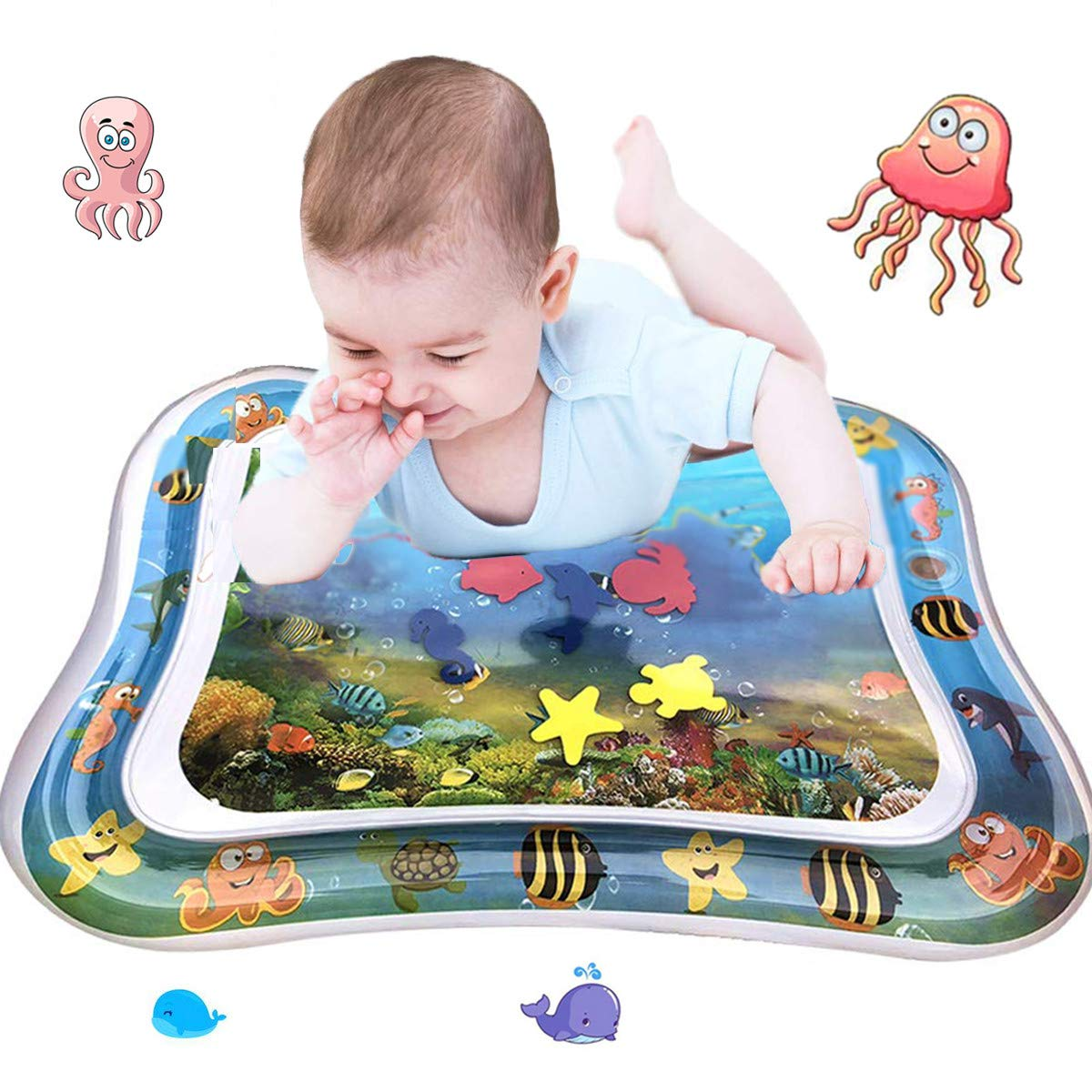 Linzze Tummy Time Inflatable Water Mat for Infants Babies Toddlers Water Play Mat Fun Toys For Cooling Summer Baby's Stimulation Growth (26' X20'')
