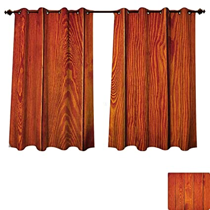 Amazon.com: Orange Bedroom Thermal Blackout Curtains Wooden Rustic ...