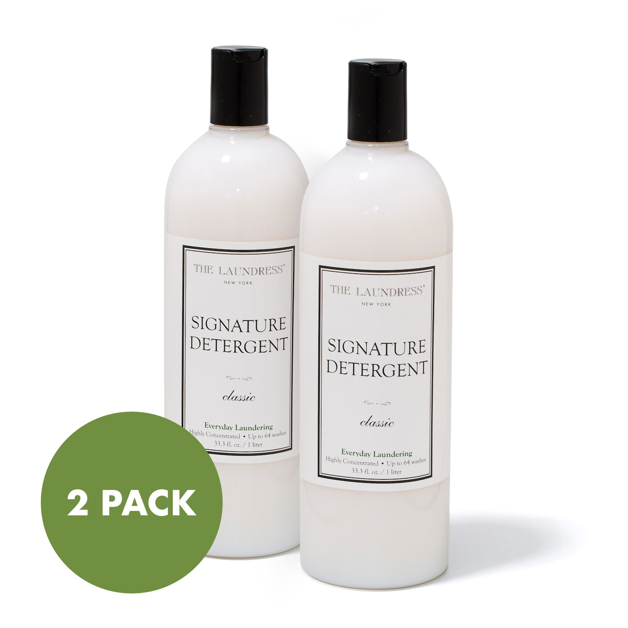 The Laundress Signature Detergent - 33.3 oz, Classic Scent, 2 Pack - All Natural, Plant Based, Eco-Friendly, Biodegradable & Hypoallergenic - Amazing Scent with Jasmine & Citrus Overtones - 128 loads by The Laundress