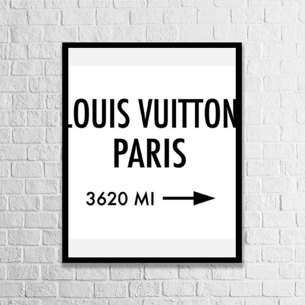 DKISEE Wall Art Louis Vuitton Paris Wood Framed Sign Home Decor Wood Sign Wall Decor Poster Print