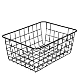 Metal Wire Food Storage Organizer Bin Basket with Handles - Black