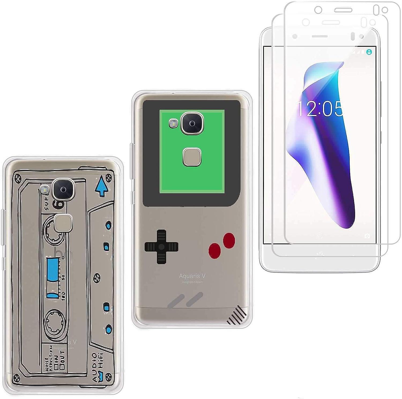jrester 2 X Funda BQ Aquaris V/Vs,Videoconsola + Cinta de Cassette Suavee Silicona Smartphone Cascara Protectora para BQ Aquaris V/Vs (5,2