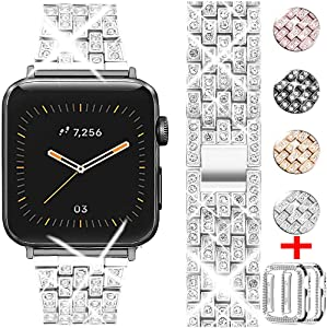 WINOW Compatible for Apple Watch Band 38mm 40mm with Rhinestone Protective Cover, Women Girls Jewelry Bling Metal Strap & 2pack Soft PC Bumper Protective Case for iWatch SE Series 6/5/4/3/2/1(Silver)