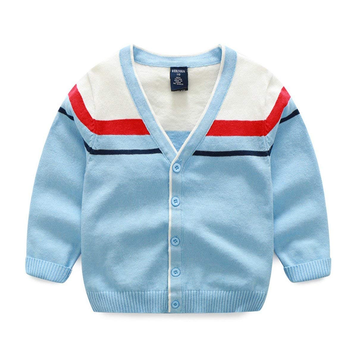 Maylife Baby Boys Basic Long Sleeve V-Neck Casual Cotton Striped Button Front Cardigan Sweater