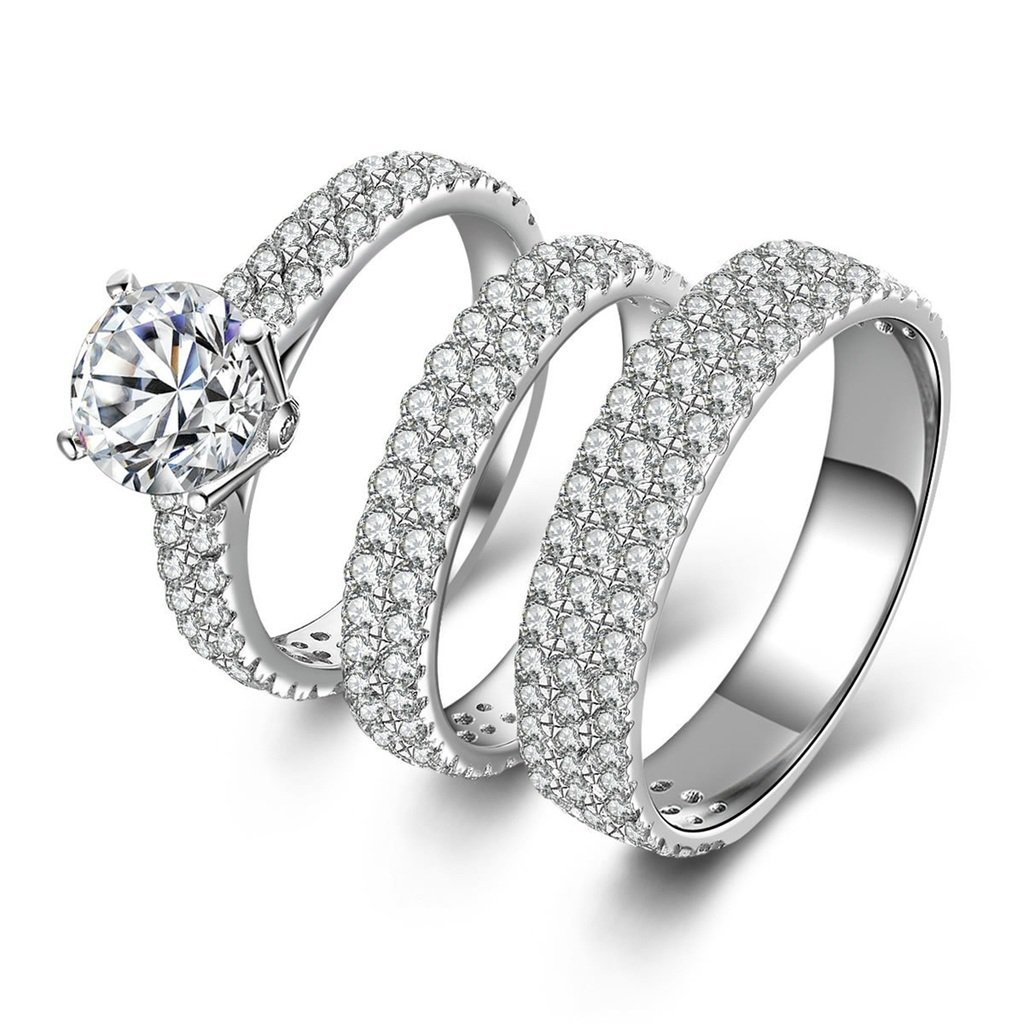 AmDxD Jewelry Silver Plated Women Promise Customizable Rings Triple Promise Rings CZ Size 6,Engraving