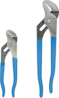 product image for Channellock 2 Piece Tongue and Groove Pliers Set - 9.5-Inch, 6.5-Inch | Straight Jaw Groove Joint Pliers | Laser Heat-Treated 90° Teeth| Forged from High Carbon Steel | Patented Reinforcing Edge Minimizes Stress Breakage | Made in USA