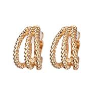 Gold Trio Twisted Strand Clip-on Earrings