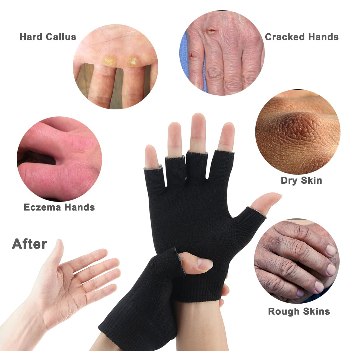 Codream Cotton Men's Gel Moisturizing Gloves Day Night Instantly Repair  Eczema Dry Rough and