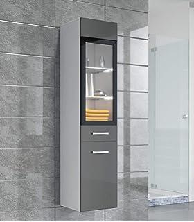 Badezimmer Schrank Rio 131 Cm Hochglanz Grau Fronten U2013 Regal Schrank  Hochschrank Schrank Möbel