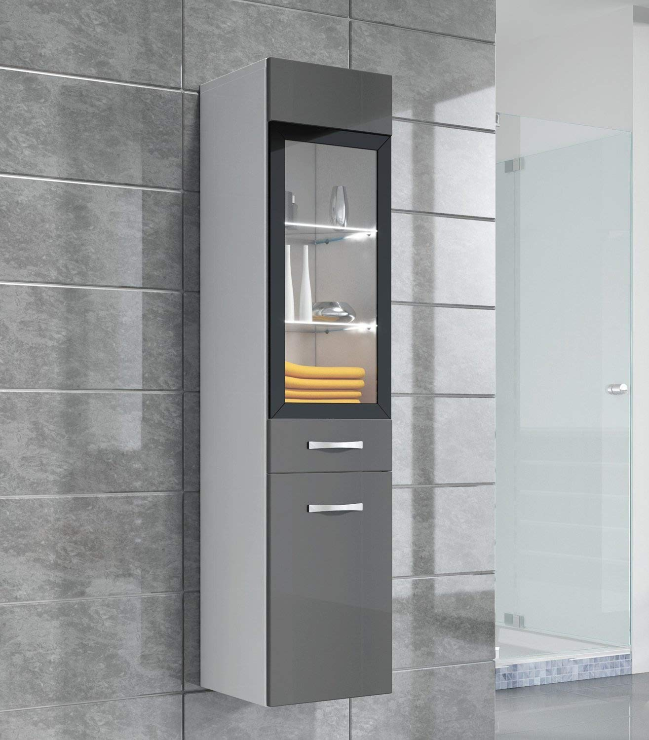 Badplaats Storage cabinet Rio 131cm height grey high gloss - Storage cabinet tall cupboard bathroom furniture