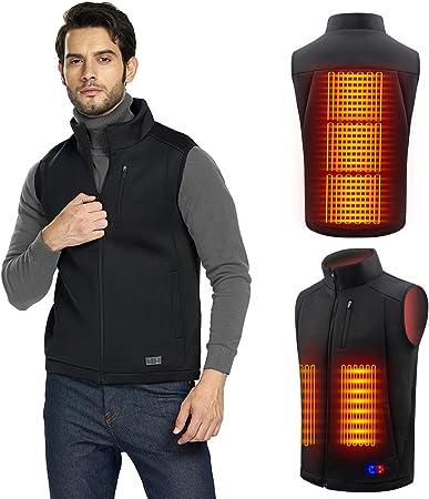 Gilet Riscaldato USB Giubbotto Riscaldato Elettrico per Uomo y Donna per Moto 3 Temperatura Regolabile Lavabile Allaperto Lavoro Giacca Riscaldata Scalda Abbigliamento con Riscaldamento a 4 Zone