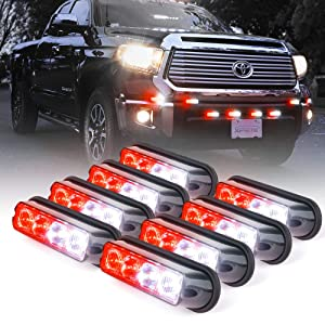 Xprite White & Red 4 LED 4 Watt Emergency Vehicle Waterproof Surface Mount Deck Dash Grille Strobe Light Warning Police Light Head with Clear Lens - 8 Pack