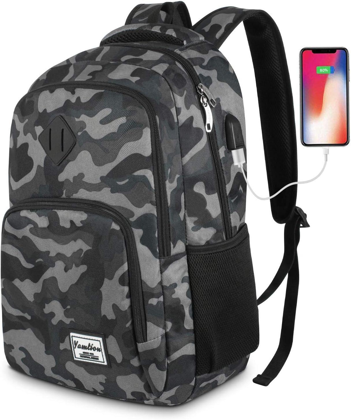 Mochila Hombre,Mochila Portatil,Mochilas Escolares Juveniles con Puerto de Carga USB (15.6 Pulgada, GJB6-camouflage Black)
