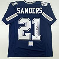 $174 » Autographed/Signed Deion Sanders Dallas Blue Football Jersey Beckett BAS COA