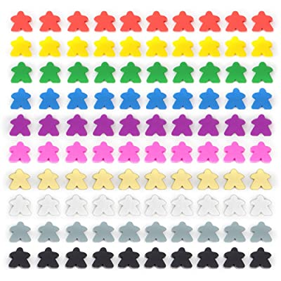 100 Wooden Meeples - 16mm Extra Board Game Bits, Pawns, and Pieces in 10 Colors - Bulk Replacement Tabletop Gaming components and Upgrade Accessories for Assorted Fantasy Strategy Games and Expansions: Toys & Games